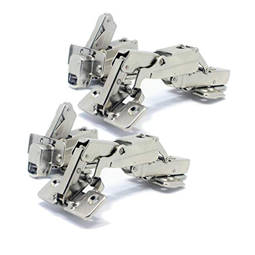 T&B 175 Degree Hinges Frameless Cabinet Doors Hinges Hydraulic Adjustable Mounting Concealed Hinges Soft Closing Nickel-Plated Steel, 2 Pairs(Full Overlay)