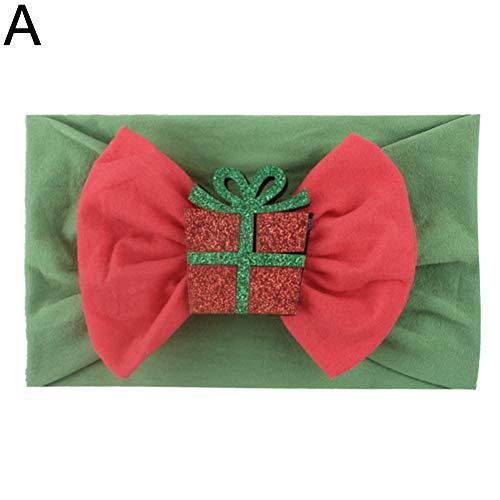 E-House Kerstaccessoire Kerstmis glinsterende Santa Bowknot baby elastische brede haarband hoofddeksel - A Een