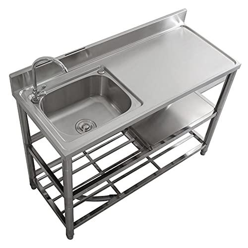 LIYANLCX Fregadero de Cocina Fregadero Comercial de Acero Inoxidable para Catering Fregadero de un tazón con Grifo Soporte de Doble Capa para lavandería Patio Trasero Garaje Sótano