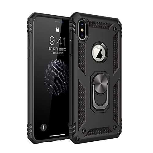 YCXFCA Armatura paraurti antiurto cassa del telefono Per iPhone 12 11 Pro XS Max mini XR X 6 6S 7 8 Plus militare Finger Ring Kickstand copertura posteriore (colore : Nero, Materiale: Per iPhone 12)