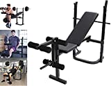 [Ship from US]Adjustable Weight Bench Foldable Dumbbell Barbell Lifting Press Gym Equipment with Rack, Incline Utility Weightlifting Bench Rack Set for Home Gym Full Body Fitness Workout Exercise