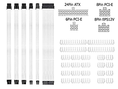 Braided ATX Sleeved Cable Extension Kit for Power Supply Cable Kit, PSU Connectors, 24 Pin, 8 Pin, 6 Pin 4 + 4 Pin, 6 Pack, with Cable Comb 24 Pieces Set 24-Pin, 8-Pin, 6-Pin (White)