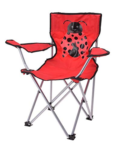 Meinposten. Campingstuhl für Kinder Klappstuhl Gartenstuhl Kind Klappsessel Kinderklappstuhl (Marienkäfer, rot)