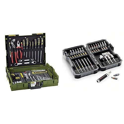 PROXXON Handwerker-Universal-Werkzeugkoffer, L-BOXX-System L 102, 69-teiliges Werkzeug-Set, Mit Hammer, Knipex-Zangen, Ratsche und Steckschlüsseleinsätze & Bosch Professional 43tlg. Schrauber Bit Set