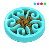 Zellar Dog Bowl Slow Feeder - Slow Feed + Interactive + Bloat Stop + Anti Gulp Blue Dog Bowls Fit Small Medium Dogs and Cats, Blue