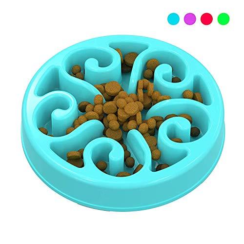 Zellar Comedero Lento para Perros para Mascotas, Platos para Perros y Gatos, Interactivo Mascota Cuenco(Azul)