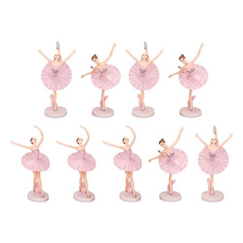 TOYANDONA 9Pcs Ballerina Figurines Mini Dancing Ballerina Girl Figure Doll Toy for Ballerina Girl Cake Topper Plant Pot Craft Dollhouse Decoration