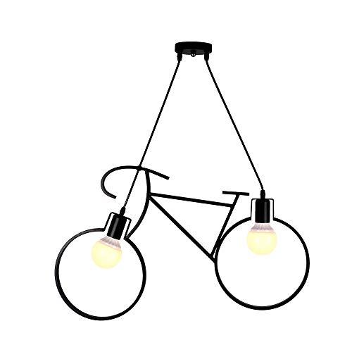 Lampadario a sospensione, a forma di bicicletta dal design moderno - Attacco 2xE27 (Nero)