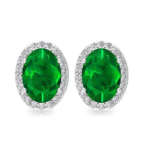 Pendientes de esmeralda de 1,7 quilates con forma ovalada de esmeralda, certificado IGI, pendientes de novia de diamante, solitario, IJ-SI, claridad de color, tornillo hacia atrás