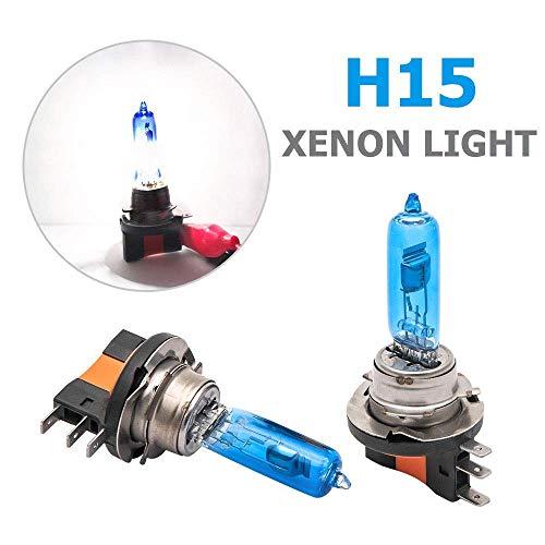 Bombilla de xenón blanco H7, 2 piezas SUNWAN 12 V HID faros delanteros bombilla superbrillante halógeno de alto efecto vehículo 55 W luz antiniebla del coche H15 …