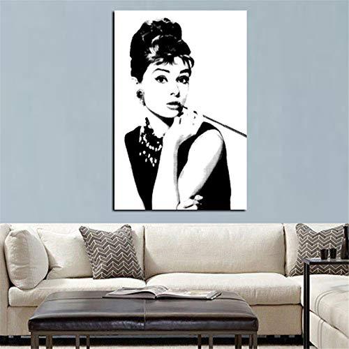 Rjjwai Hd Print Schwarz Mit Weiß Audrey Hepburn Porträt Auf Leinwand Wandkunst Bild Pop Art Gemälde Für Wohnzimmer Cuadro Dekoration Schlafzimmer 40x60cm