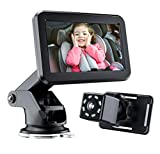 Baby-Car-Mirror-Baby-Car-Camera for the-Back Seat - with 4.3'' HD Display, Night Vision, Wide View, Stable Sucker Bracket, Car Baby Monitor with Camera Suitable for all Families with Newborn Babies