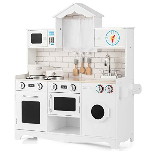 Costzon Kids Kitchen Playset, Wooden Pretend Play Toys w/ Washing Machine, Stovetop, Oven, Microwave, Removable Sink, Stoves, Open Shelf, Realistic Cooking Experience for Boys Girls (White)