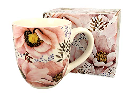 Duo Jumbotasse Becher XXL Pink Flowers folkloristische Deko 900 ml Porzellan Trinkbecher Smoothie Becher Geschenk Büro Tasse für Kaffee Teetasse Cappuccino Kaffeebecher Jumbo-Tasse Riesentasse XXXL