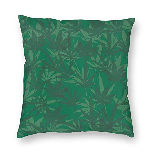 Klotr Throw Pillow Covers Decorative Pillow Case Marijuana Leaf Background Illustration. Check Out Myand Health Vector Light Box for More Pillowcases 18x18 inch