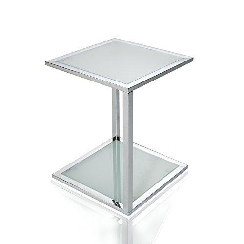 Invicta Interior Cubetto functionele bijzettafel frosted glas chroom 40 cm