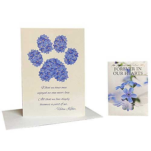 Pet Sympathy Card & Forget Me Not Seed Packet Memorial Gift Set