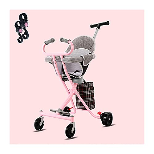 Puhang ベビーカー キッズスクーター 背面ベビーカー 4輪ベビーカー 超軽量3.3KG 高さ調整可能 折りたたみ簡単 散歩 旅行 持ち運び便利 機内持ち込み可能 収納バッグ 無料フック*2枚付き ピンク