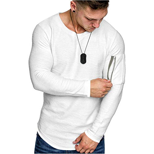 Purchase ANJUNIE Men's Simple Solid Color Muscle T Shirt, Pocket Fake Two-Piece Top Blouse Pullover ...