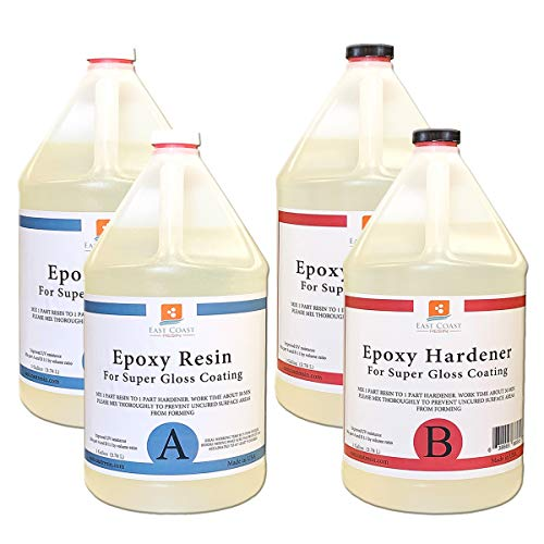 Epoxy Resin 4 Gallon Kit   1:1 Crystal Clear Resin and Hardener for Super Gloss Coating   for Bars, Tabletop, Art, Jewelry, Casting Molds   Safe for Use on Wood, Metal, Stone, Plastic, Marine Sealer