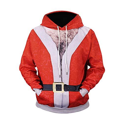 comechen Herren Kapuzenpullover Hoodie Pullover Mit Kapuze Und PrintGroße Weihnachtsmannkleidung L61003# XL