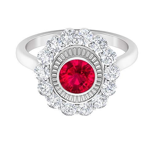 ¿Joyas Rosec? Anillo de compromiso halo con diamante HI-SI de 1 quilate, 1 quilate, 6 mm, anillo solitario de rubí (calidad AAA), 14K Oro blanco, Size:EU 54