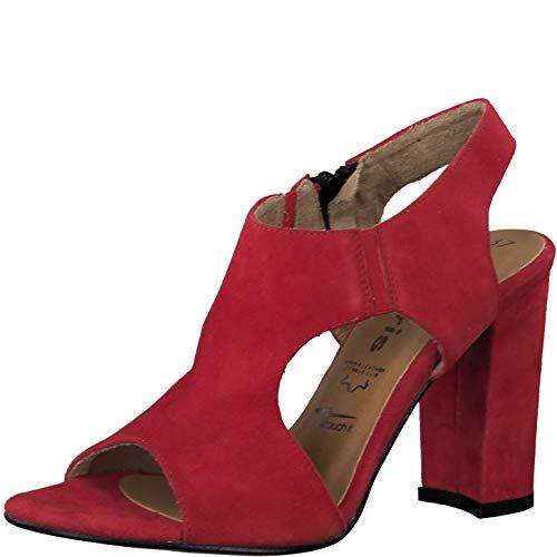 Tamaris Damen Sandalen 28003-24, Frauen Sandaletten, Absatzschuhe hoher Absatz feminin weibliche Lady Ladies,Lipstick,40 EU / 6.5 UK