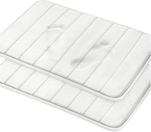 Utopia Home 2-Pack Tapis de Bain en Mousse à mémoire de Forme, Dos antidérapant, Molleton de Corail Doux, très Absorbant (Blanc, 50x80 cm)