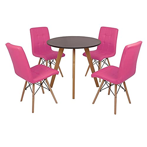 Mesa Laura 80cm Preta + 4 Cadeiras Eiffel Gomos - Rosa