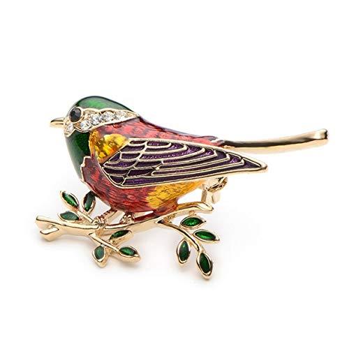 EJY Rhinestone Enamel Oriole Bird Branch Pins Brooches for Men Women Suits Dress Banquet Brooch Gift(green)
