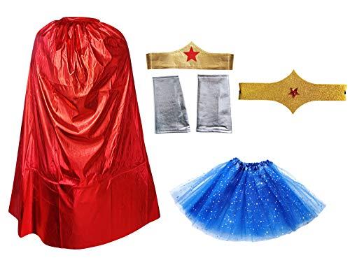 Disfraz Superhéroe Poder Niña Mujer,Conjunto Falda Tutú con Estrella, Capa, Pulseras Cinturón y Tocado (Pack Rojo Superwoman)