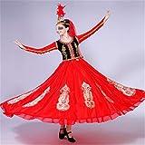 Zhengowen Ropa de Baile para Adultos Xinjiang Dance Performance Disfraz Femenino Adulto Moderno Apertura Danza Falda Grande Ropa de Baile para Adultos para Bailar (Color : Red, Size : Small)
