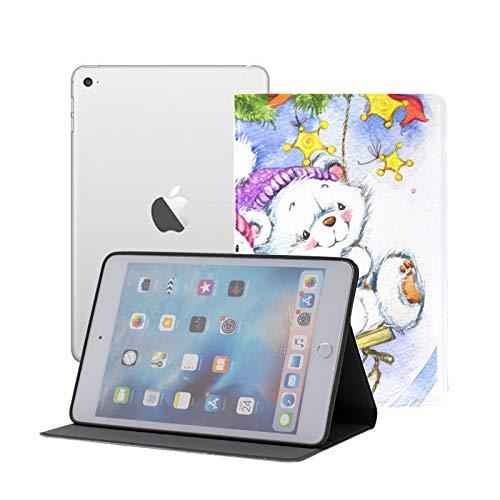 Funda iPad Mini 1/2/3 - Funda Inteligente con Soporte Giratorio de 360 Grados y función de activación automática del sueño, Oso de Peluche Blanco de año Nuevo