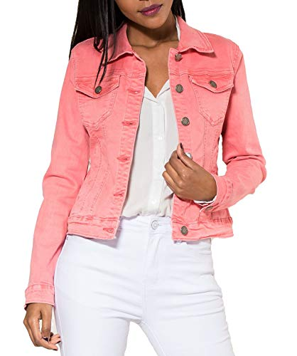EGOMAXX Damen Jeans Jacke Kurz Übergangsjacke Frühling Denim Weste, Farben:Coral, Größe:44