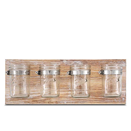 Rustic Hanging Mason Jar Organizer- BeSuerte Farmhouse Home Mason Jar Decor Toothbrush Holder, Wall Mount Decor 4-Jar for Office, Bathroom, Kitchen, and Entryway Decor Storage,Brown