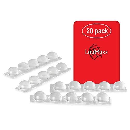 LouMaxx Gummipuffer | 20er Set transparent Ø 13mm | Gummifüsse selbstklebend mit extra starkem Halt | Premium Elastikpuffer verhindern Rutschen und Kratzer, Anschlaglärm und Vibrationen