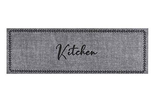 Läufer Küchenläufer Küchenteppich Teppich Teppichläufer Antirutschmatte Küchenmatte Vorleger für die Küche waschbarer rutschfester 50x150 cm groß Kitchen Grau modern Motiv