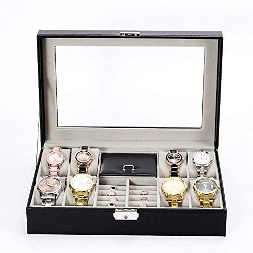 Caja de relojes Caja de relojes Caja de almacenamiento de piel sintética con tapa de cristal bloqueable para hombres y mujeres