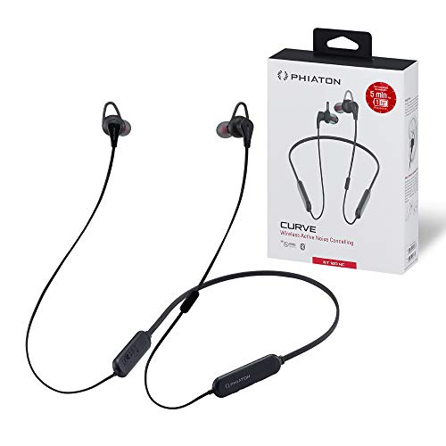 Phiaton BT 120 NC Black Qualcomm Bluetooth Wireless Noise Cancelling Earbuds – Neckband Headphones with Inline Mic, BT Earphones with Active Noise Cancellation and IPX4 Certified Water Resistant