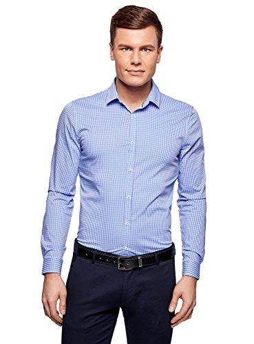 oodji Ultra Hombre Camisa Extra Slim a Cuadros Pequeños