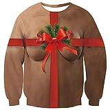 Fanient Sweatshirt drôle de Noël de Femmes Mignons Top Coffre Cadeau Pack Motif Ras du Cou De Noël Pull Sweats M