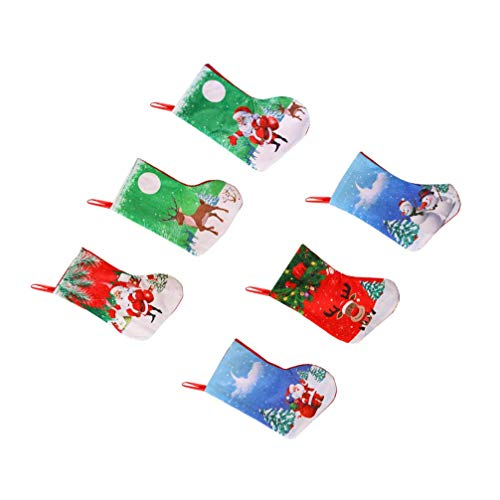 12 pezzi mini calze natalizie caramelle piccoli spuntini regalo stoccaggio calzini appesi natale argenteria copertura custodia per negozio di casa decor colore casuale