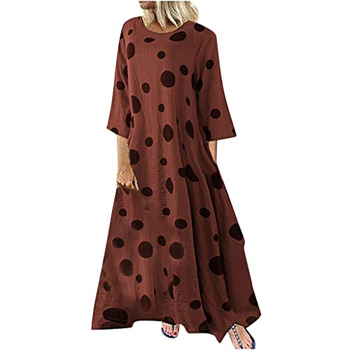Mode Damen Kleider Plus Größe Maxi Kleid Casual Leisure Kleid Baggy O-Ausschnitt Langarm Polka Dots Muster lose Swing Kleid Bluse Kleid Rot L