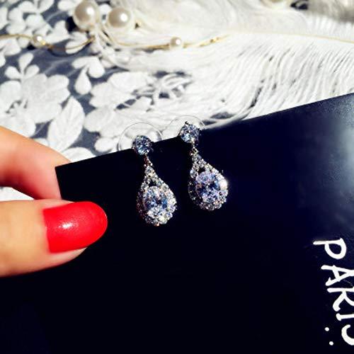 FEARRIN Pendientes de aro de Plata de Ley, Pendientes de Gota de Agua de Cristal Transparente a la Moda para Mujer, joyería de Fiesta Colgante pequeña de Plata de Lujo