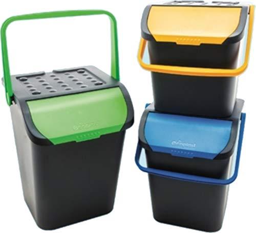 Ecoplast Lot de 3 poubelles assorties, tri sélectif, poubelle écologique, anti-renversement, 28 l, empilable, double ouverture