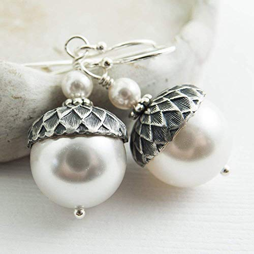 Acorn Earrings made with White Crystal Simulated Pearls from Swarovski, Sterling Silver Earwires