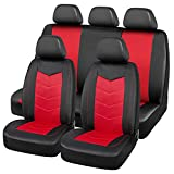 Road Comforts Low Back Car Seat Covers Full Set - Made with Mesh and PVC Leather - Airbag Compatible, Universal Fit for Cars, Trucks, Vans, SUVs ( 9Pcs Red)