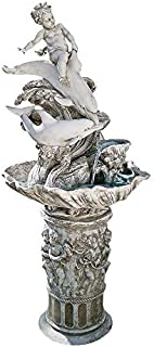 Water Fountain - 4 Foot Tall Young Poseidon with Dolphins Garden Decor Fountain - Outdoor Water Feature