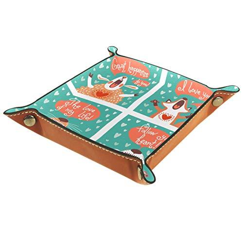 Caja de almacenamiento pequeña, bandeja de valet para hombre,Dibujos animados zorro conejo tigre,Organizador de cuero para llaves de caja de monedas