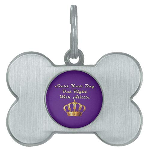 Stainless Steel Pet ID Tags, Alittle Crown Pet Tag, Dog Tags, Cat Tags, Bone Shaped ID Tag for Dogs and Cat